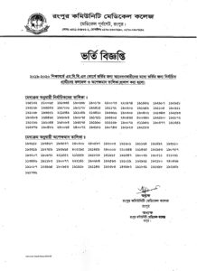 MBBS admission test result of Rangpur Community Medical College (RCMC)